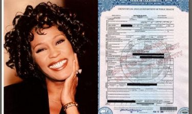 Αυτό είναι το επίσημο πιστοποιητικό θανάτου της Whitney Houston!