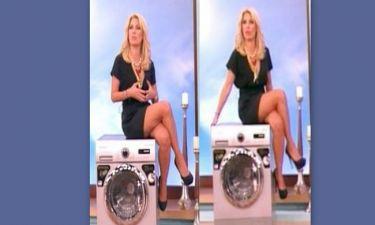 Ελένη Μενεγάκη: Η σέξι εμφάνιση της και το σταυροπόδι πάνω στο πλυντήριο!