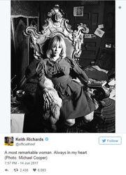 Tο συγκινητικό «αντίο» του Keith Richards στην Anita Pallenberg