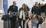 Σταματίνα Τσιμτσιλή-Θέμης Σοφός: Στο αεροδρόμιο με τις κόρες τους