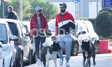 Αλεξάνδρου-Καλάβρια: Χαλαρή βόλτα με τα σκυλιά τους