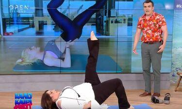 Απολαυστικό! Η Ζαρίφη προσπαθεί να κάνει την άσκηση Pilates της Ντορέττας on air! (video)